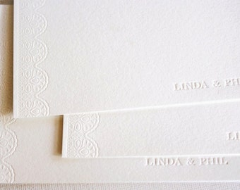 Personalized Wedding Thank You Lace Letterpress Cards
