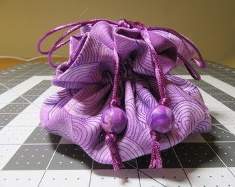 Jewelry Drawstring Travel Pouch/Tote/Bag/Organizer - Large Size - Handmade - Orchid, Purple, Lavender