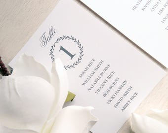 Printed Seating Chart - 8 5x7 inches - Style 08 - LAUREL WREATH COLLECTION
