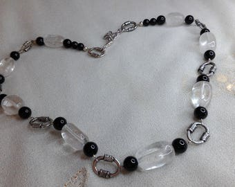 Black agate and rock Crystal Necklace