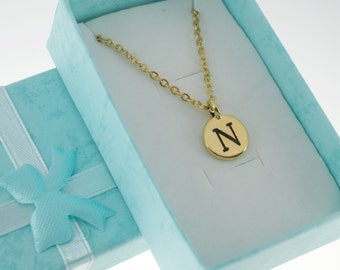 Antique Gold Plated Pewter Initial Charm Necklace.  Initial Necklace. Initial Charm. Initial Jewelry. Letter N necklace.  Letter N Jewelry.