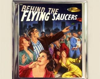UFO Pulp Cigarette Case Business Card ID Holder Wallet Retro Kitsch Flying Saucer Alien Extraterrestrial Sci Fi
