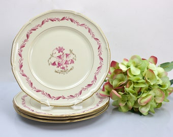 Fine China Plate Set, Set of 4 Plates, Floral Plate Set, Bavarian Porcelain Plates, Royal Tettau, c1950s, Vintage China Plates