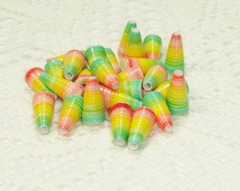 Paper Beads, Loose Handmade Jewelry Supplies Cone Green Yellow Red Ombre