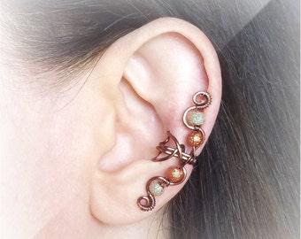 Antique Copper Ear Cuff Glass Moon Beads Copper Ear Wrap