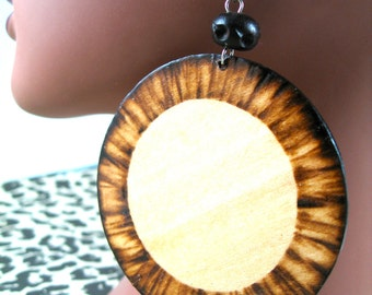 Wooden Pinapples Woodburned Earrings