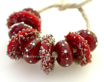 Red Silver Droplets and Luster Sugar Wavy Disks Handmade lampwork glass bead set TANERES color choices amber blue green ivory