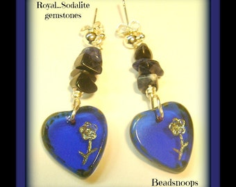 Royal...Sodalite gemstone with glass hearts, dangle post earrings