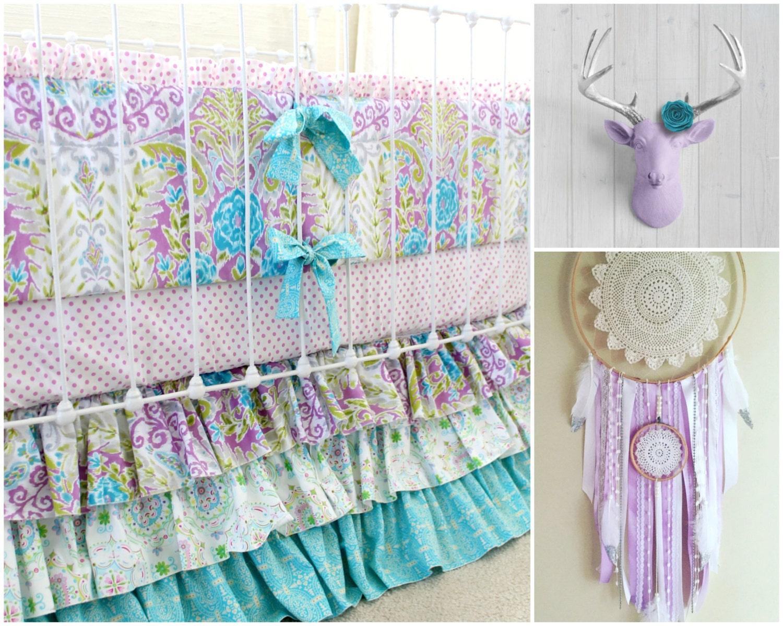 Lavender Boho Baby Girl Crib Bedding Purple