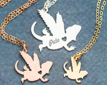 Bearded Dragon Memorial • Pet Loss Charm Lizard Jewelry Memorial Necklace Lizard Pendant Pet Reptile Gift Personalize Pet Unique