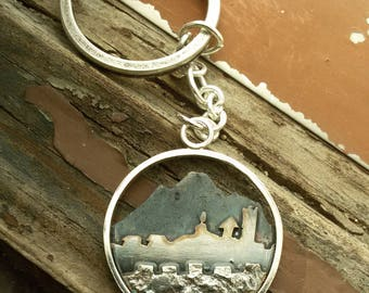 Custom mountain or town pendant, Personalized jewelry, gift for mountain lovers