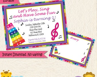 Music Invitation • Music Birthday Invite • Toddler Girl Music Party • Music Notes • Xylophone • 1st Birthday • Editable • Pink Blue • 034mg2