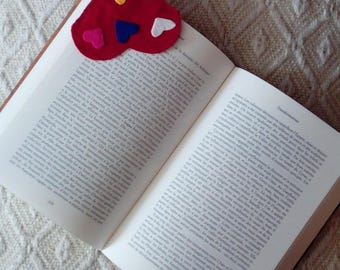 red heart bookmark with all the hearts of color