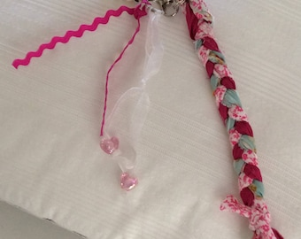 Keychain, bag fabric, beads and ribbons