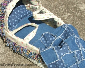 Peace and Distressed Denim Baby Doll Bassinet for Bitty Baby and other baby dolls