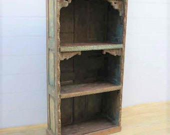 Hand-Carved Indian Bookshelf with Three Large Shelves