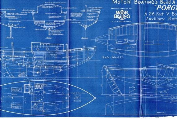 Antique blueprint vintage ship blueprint c1940s boat like this item malvernweather Images