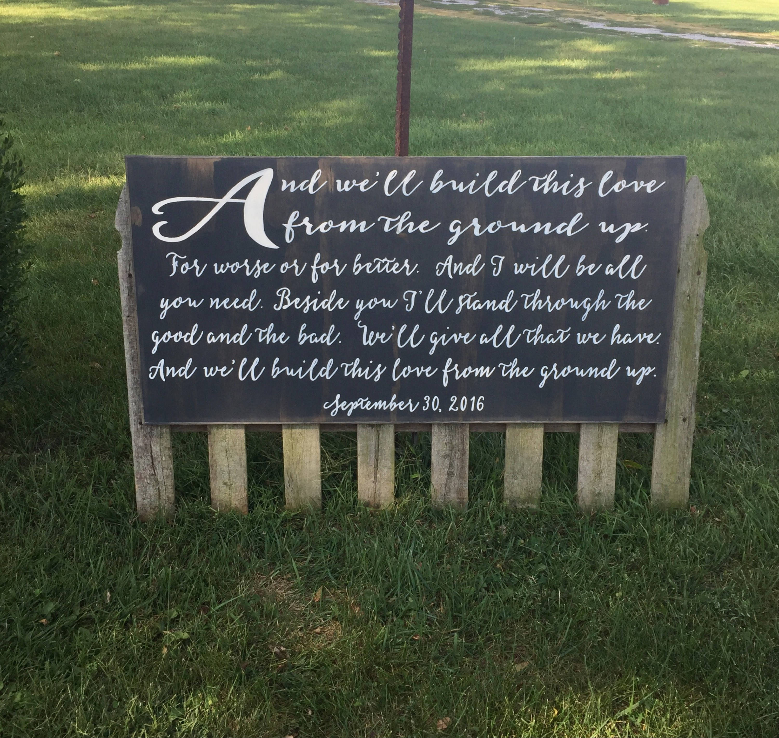 From The Ground Up Song Lyrics Wedding Song Sign Anniversary Gift
