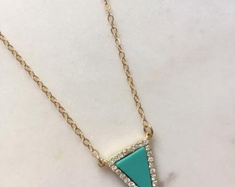 Turquoise Triangle Necklace-triangle necklace, dainty necklace, gold layering necklace, gold triangle necklace, turquoise necklace