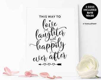 This Way To Happily Ever After Sign, Wedding Direction Signs, Printable Wedding Signs, This Way To The Wedding Signage, Wedding Arrow Sign