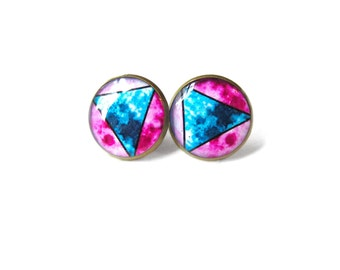 Neon Blue and Hot Pink Geometric Moon Stud Earrings - Pastel Goth Soft Grunge Pop Culture Jewelry - Hippie Outer Space Jewelry