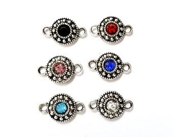 6 Antique Silver Assorted Or Individual Color Rhinestone Connectors - 2-19