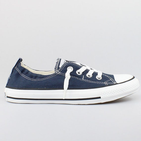 Blue Converse Shoreline Slip on Navy Ladies Kicks Custom w/ Swarovski Crystal Rhinestone Jewels Bling Chuck Taylor All Star Sneakers Shoes