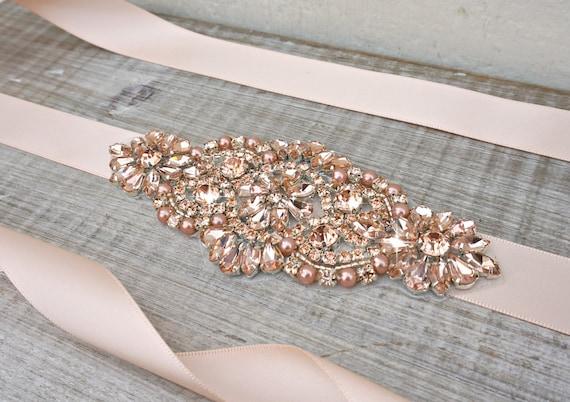 Rose gold bridal sash rose gold bridal belt sash belt