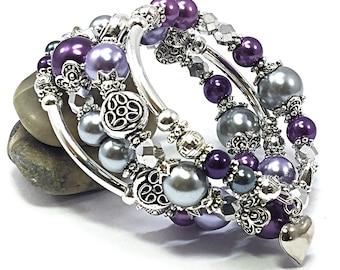 Purple Wrap Bracelet - Memory Wire Bracelet - Mother's Day Gift - Purple Bracelet - Silver Wrap Bracelet - Gifts for Mom