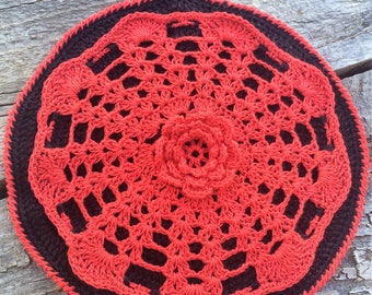 Pot Holder. Doily Style Crocheted Cotton Pot Holder with 3 Dimensional Irish Rose Motif. Mothers Day Gift.