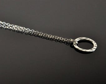 Sterling silver chain necklace with hammered disc pendant