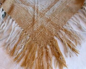 Vintage Arola Shawl~~Made in Finland~~1970's Wool Shawl~~Designed by Pirkko Maki~~Dark Cream and Golden Tan Fringed Shawl
