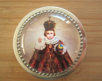 Item#62 ~Infant of Prague rosary tin rosary case first communion gift for boy or girl, first communion favor catholic