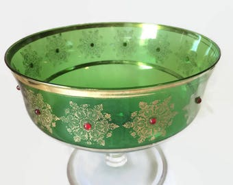 1920s Bohemian Green Glass Comport with Gold Gilt Trim and Red Glass Beads
