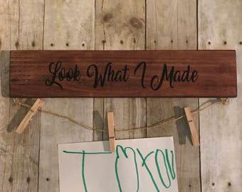Look what I made. Kids art wall hanger.
