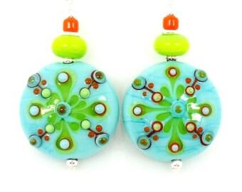 Turquoise Blue Earrings, Lampwork Earrings, Glass Earrings, Glass Bead Earrings, Unique Earrings, Southwestern Earrings, Bright Earrings