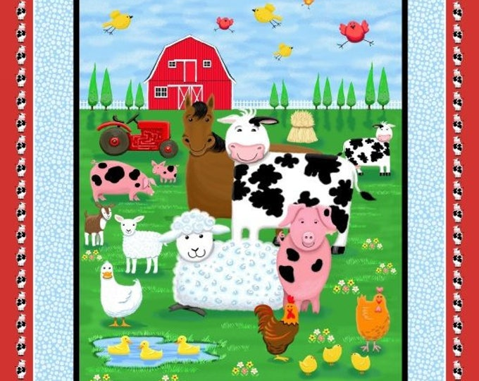 FARM LIFE PANEL, Children's Cotton Farm Life Panel by Kate Mawdsley for Henry Glass 36 x 44 inches