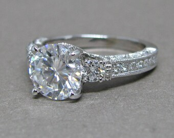 Forever One Moissanite 3 Stone Diamond Engagement Ring Vintage Style 18k White Gold Wedding Bridal Ring 8mm