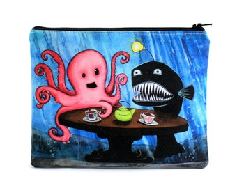 May I Join Your Tea Party - Zipper Pouch - Ocotopus and Angler having Tea with Little Girl - Art by Marcia Furman