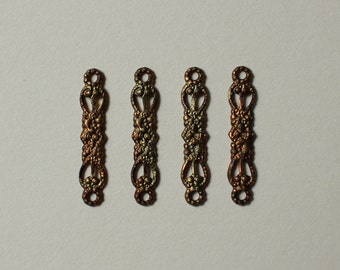 Vintage Oxidized Brass Filigree Connectors