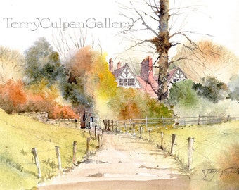 Thornbury Watercolour Vicarage Old Brick Building Footpath Fencing Trees Autumnal Colours Reds Greens Homey Print Gift Wall Art Decoration