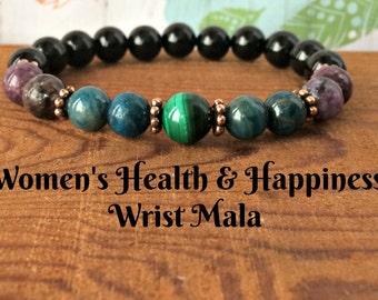 Women's Health & Happiness - AA Black Tourmaline, Apatite, Lepidolite, Malachite, Weight Loss-Anxiety-Protection-Master Healer for Women