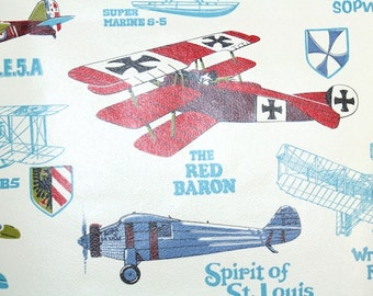 Retro Wallpaper by the Yard 70s Vintage Wallpaper - 1970s Red Blue and Green Planes