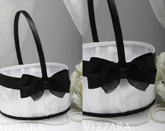Wedding flower basket Wedding Black white Set Wedding flower girl basket wedding Gift wedding Decor Wedding basket Royal Gold Wedding set