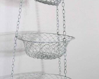 Vintage White Wire Mesh Hanging Basket, 3 Tier Farmhouse 1950s