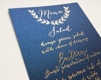 Gold Foil Calligraphy Wedding Menu Navy Blush Elegant Nautical Laurel Wreath High End Luxurious Navy Paper Wedding Menu
