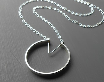 Long Silver Circle Pendant Necklace