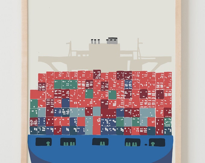 Fine Art Print.  Container Ship.  January 21, 2014.