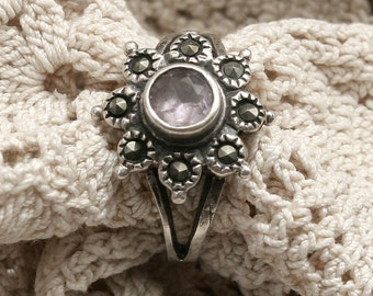 Vintage Sterling Silver Marcasite and Pale Lavender Chalcedony Ring - Size 6.25