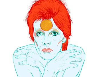 Ziggy Stardust - David Bowie - Fine Art Print - Giclee - Wall Art - Portrait - Music legend - icon - Black Star -